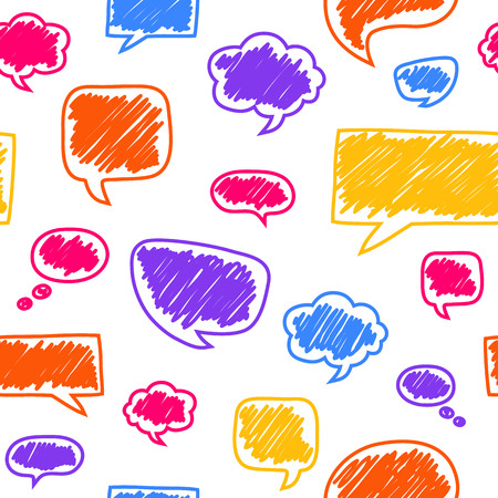 Seamless pattern with varicolored speech bubbles. Beautiful vector design.