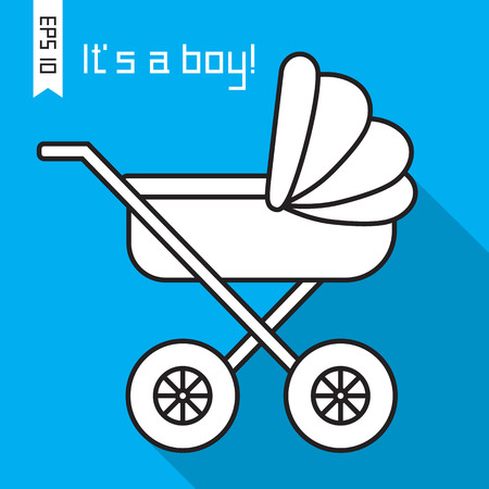 its: Flat icon with baby pram and long shadow. Vector illustration ard with baby carriage and text Its a boy! EPS 10 Illustration