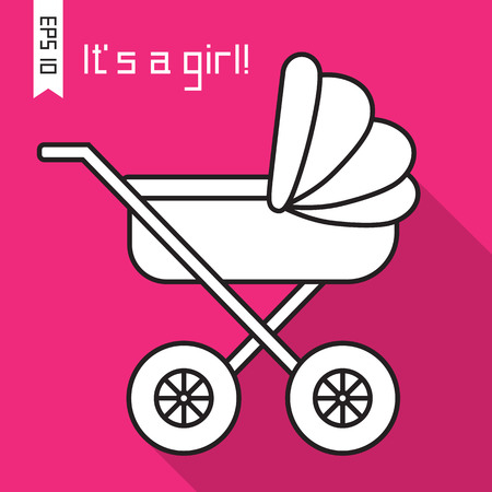 ard: Flat icon with baby pram and long shadow. Vector illustration ard with baby carriage and text Its a girl! EPS 10