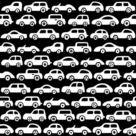 Doodle cars background. Seamless baby boy pattern in vector. Texture for wallpaper, fills, web page background.