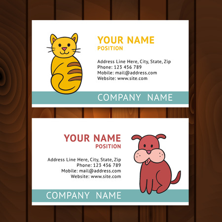 tree services company: Business card with cat and dog for veterinary clinics on wooden background. Vector illustration elegant template, eps10. Illustration