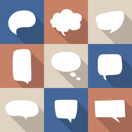Conjunto de iconos de la burbuja del discurso con las sombras para su diseño. Piense símbolos de nubes. Ilustración del vector. 10 EPS Ilustración de vector