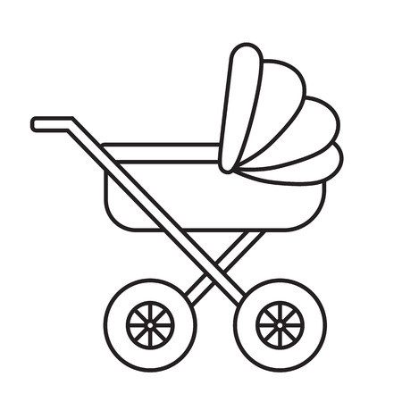 child care: Baby Pram outline icon on white background. Child care vector illustration.