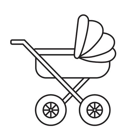 child care: Baby Pram outline icon on white background. Child care vector illustration.