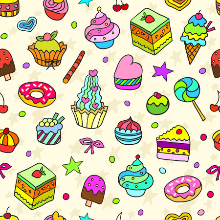 bake: Vector doodle seamless pattern with bake and sweets. Vector illustration.