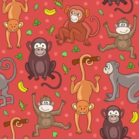 frutas divertidas: sin patrón, con monos, plátanos y hojas. ilustración vectorial para su diseño lindo.
