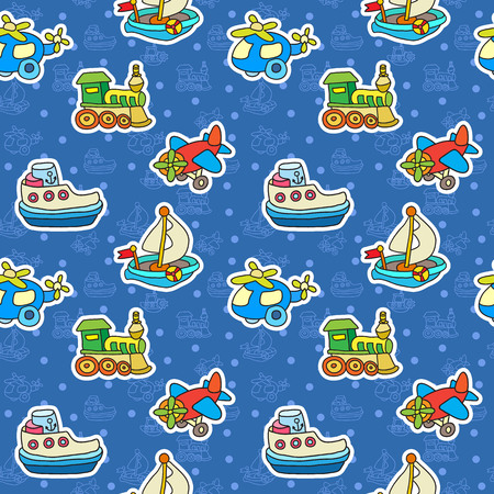 Seamless pattern with colorful childrens toys. Baby colorful transport stickers. Vector doodle collection