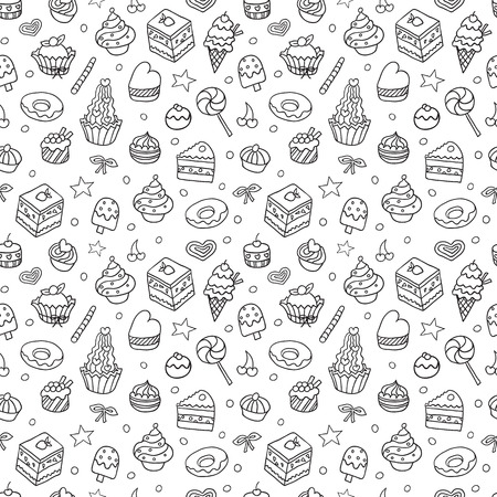 bake: doodle seamless pattern with bake and sweets. Illustration