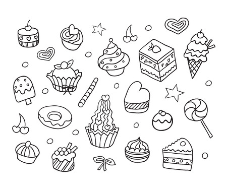bake: Vector set with bake and sweets. Hand drawn sketch restaurant desserts set.