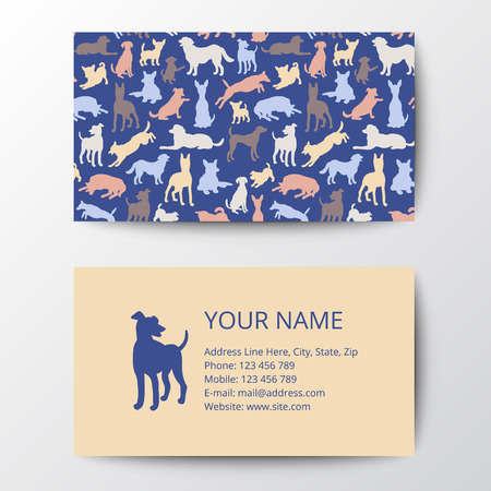 Business card with dog silhouettes pattern. Vector illustration elegant template, eps10.