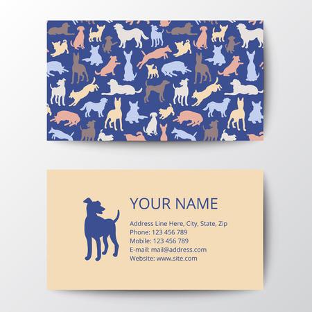 veterinaria: Tarjeta de visita con el patrón de siluetas del perro. ilustración vectorial elegante plantilla, eps10. Vectores
