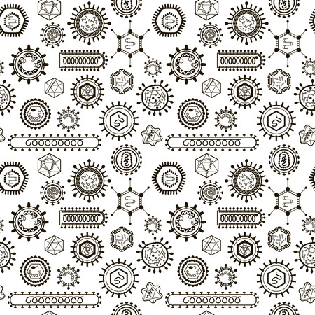 enveloped: Seamless pattern with viruses. Endless texture for wallpaper, fill, web page background, surface texture.