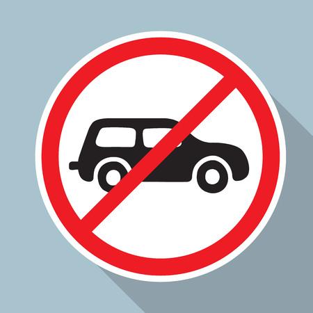 차가 없어. 모든 자동차에 대한 도로 표지판을 금지하는 도로 표지판.