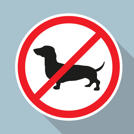 illegal zone: No Dogs allowed sign on blue background. Vector EPS10.