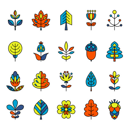 tress: Set of outline stroke icons with tress, leaves and flowers. Vector illustration for your cute design. It can be used as - logo, pictogram, icon, infographic element.