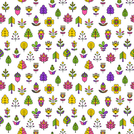 Seamless pattern with outline stroke icons with tress, leaves and flowers. Vector illustration for your cute design.