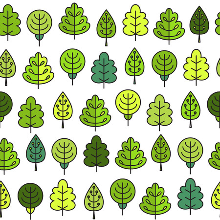 tress: Seamless pattern with outline stroke icons with green tress. Vector illustration for your cute design.