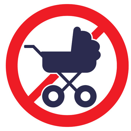 kiddy: No Baby Carriage Sign. Vector illustration.