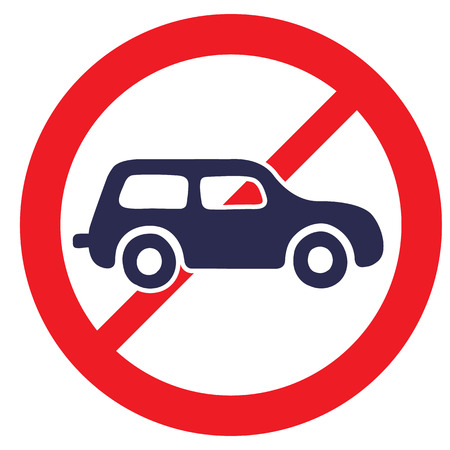 obey: No cars. Road Sign prohibiting thoroughfare for all motor vehicles. Illustration