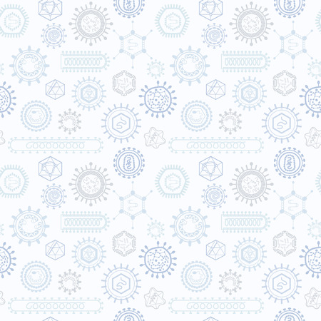 Seamless pattern with viruses. Endless texture for wallpaper, fill, web page background, surface texture.