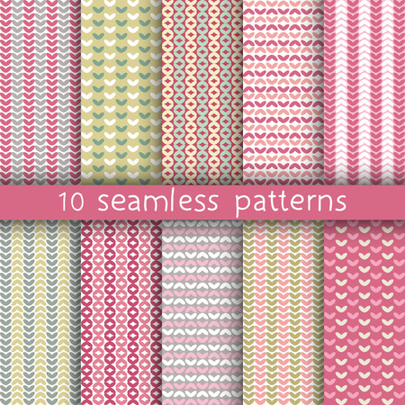 tender: 10 vector seamless patterns. Textures for wallpaper, fills, web page background. Set of geometric ornaments.