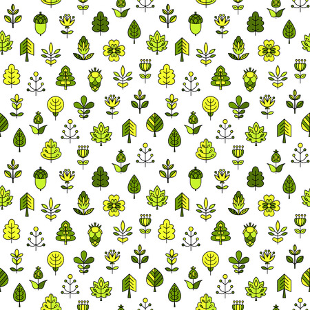 tress: Seamless pattern with outline stroke icons with tress, leaves and flowers. Vector illustration for your cute design.
