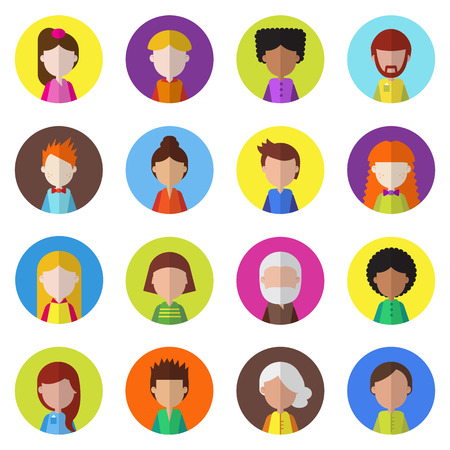 Set of people icons for avatars. Cartoon character collection.