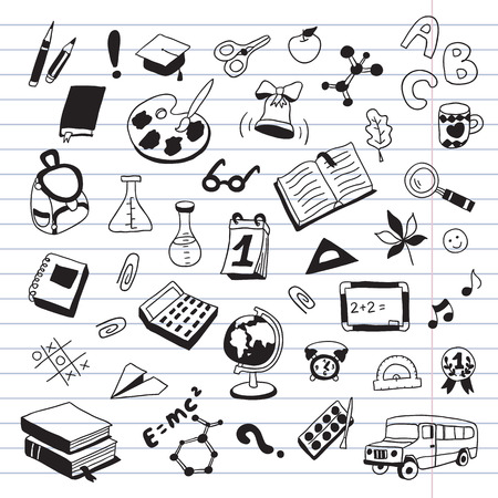 a literary sketch: Back to School. Seamless vector pattern