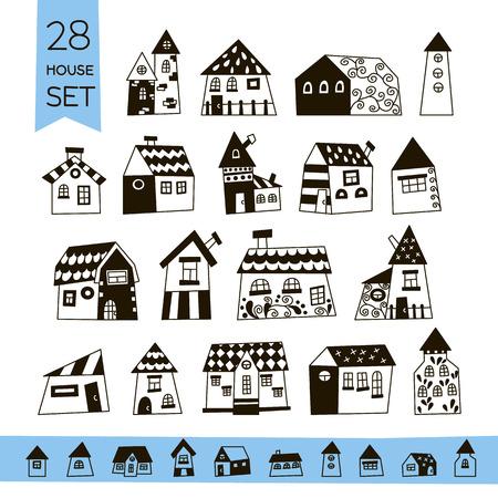 cute house: Cute House Set. Hand drawn house.