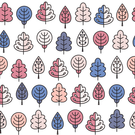 tress: Seamless pattern with outline stroke icons with spring tress. Vector illustration for your cute design.