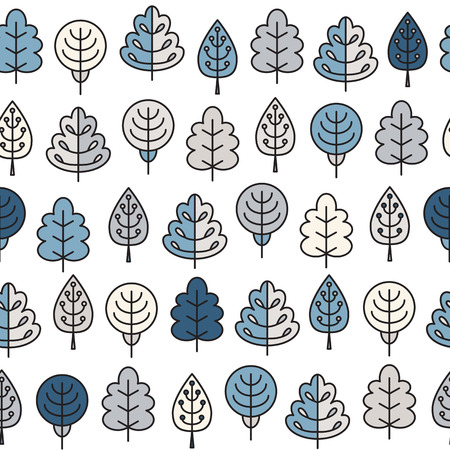 Seamless pattern with outline stroke icons with winter tress. Vector illustration for your cute design.