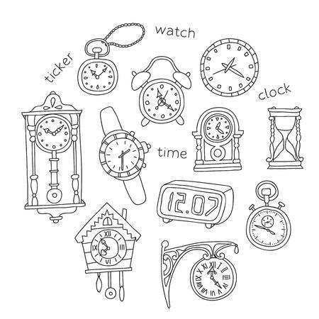Illustration of doodle clocks. Vector design elements. Illustration