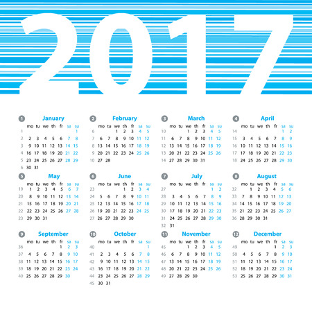 meses del año: Calendar 2017 year vector design template with week numbers and months. Beautiful vector design. Vectores