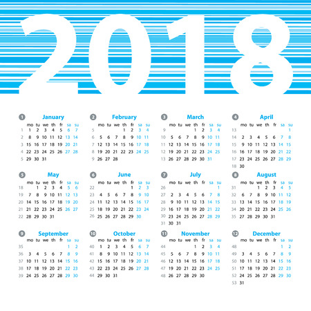 Calendar 2018 year vector design template with week numbers and months. Beautiful vector design.