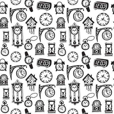 old wallpaper: Seamless pattern with doodle watches and clocks. Can be used for textile, website background,  book cover, packaging.