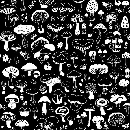 fairy toadstool: Vector seamless pattern with mushrooms. Autumn forest. Endless texture for wallpaper, fill, web page background, surface texture.
