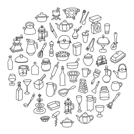 sieve: Set of icons of different types of cookware. Illustration