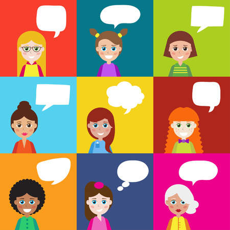 Girls with speech bubbles. It can be used as -  pictogram, icon, infographic element. Illustration