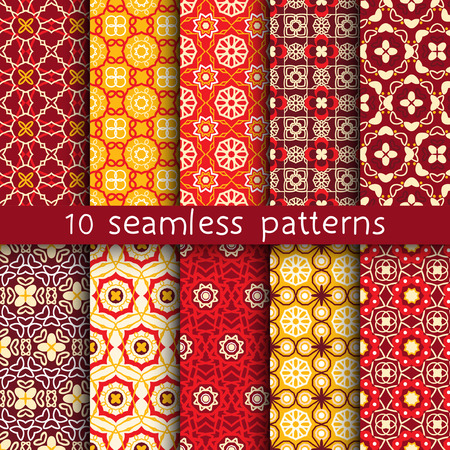 10 vintage patterns for universal background. Endless texture can be used for wallpaper, pattern fill, web page background.  illustration for web design.