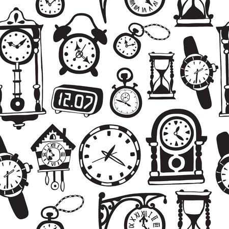 classical mechanics: Seamless pattern with doodle watches and clocks. Can be used for textile, website background,  book cover, packaging.