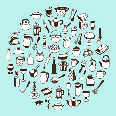 Set of icons of different types of cookware. Beautiful vector design.