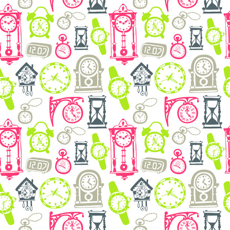 Seamless pattern with doodle watches and clocks. Can be used for textile, website background,  book cover, packaging.