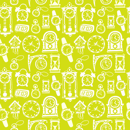 pendulum: Seamless pattern with doodle watches and clocks. Can be used for textile, website background,  book cover, packaging.
