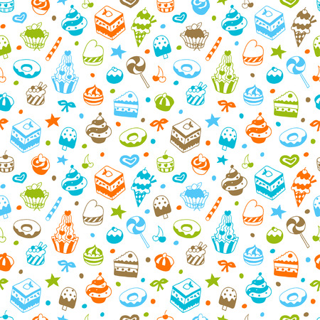 ice tea: Vector doodle seamless pattern with bake and sweets. Vector illustration.