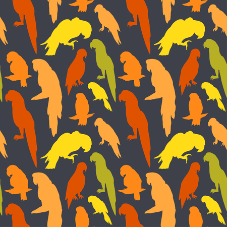 macaw: Seamless tropical pattern with parrot bird silhouette. Can be used for textile, website background, book cover, packaging.