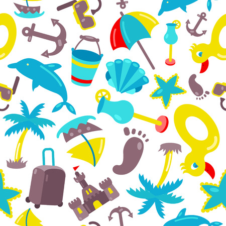 Vector beach pattern for summer.  Endless texture for wallpaper, fill, web page background, surface texture. Illustration
