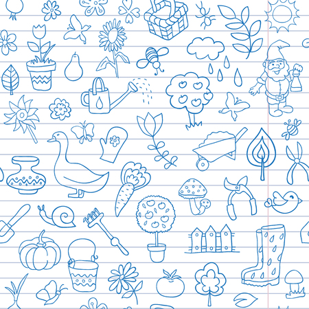 Seamless pattern of gardening objects are drawn on a notebook in a ruler. Textures for wallpaper, fills, web page background.