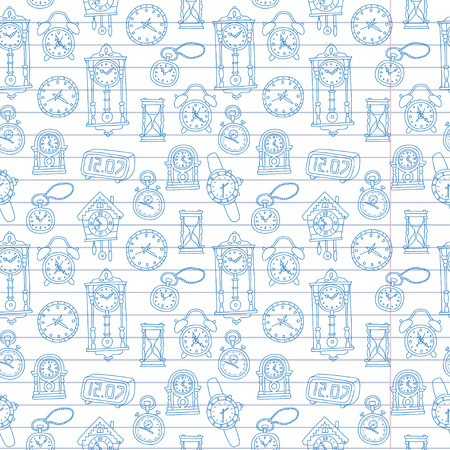 Seamless pattern with doodle watches and clocks are drawn on a notebook in a ruler. Can be used for textile, website background, book cover, packaging. Illustration