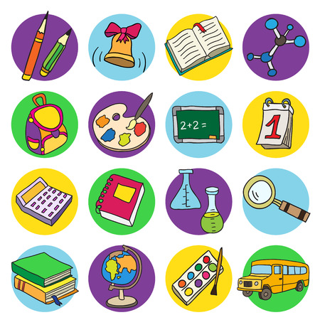 Colorful flat school icons. Vector collection. Back to school.