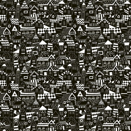 condo: Doodle hand drawn town seamless pattern. Black and white abstract wallpaper. Vector illustration for your cute design.